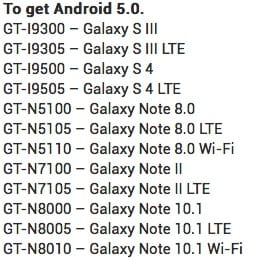 List of Samsung's Android 5.0 supported devcies