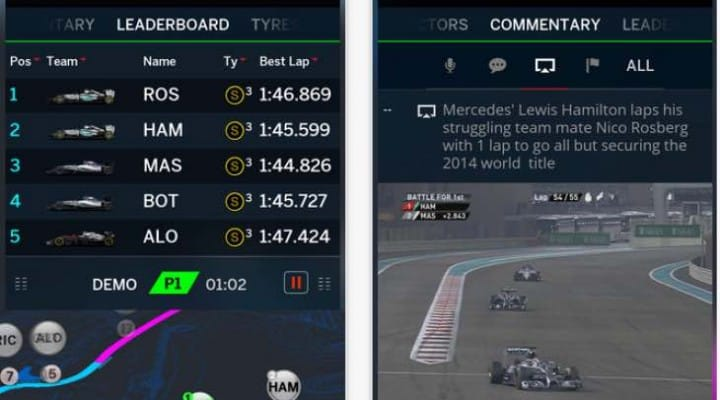 Live F1 2015 results via official app update