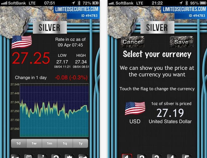Live silver prices today