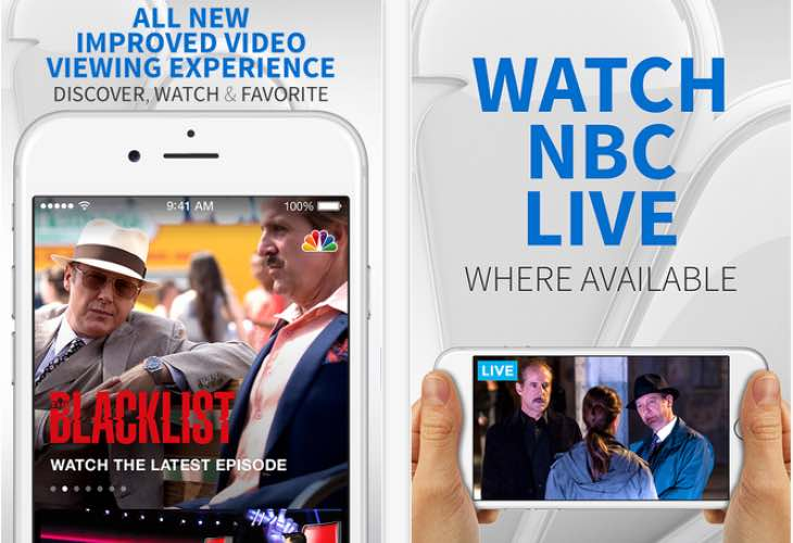 Live stream NBC shows, such as Blacklist within app