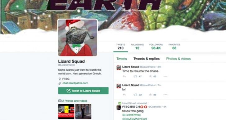 Lizard Squad tweets Hacked by Anonymous