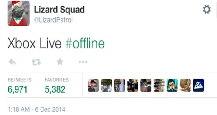 Xbox Live taken down by Lizard Squad to entertain