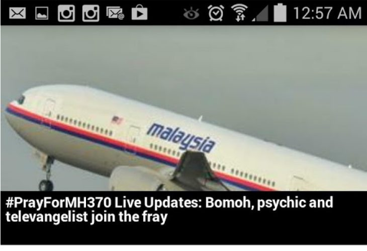 MH370 Flight news found within Android apps