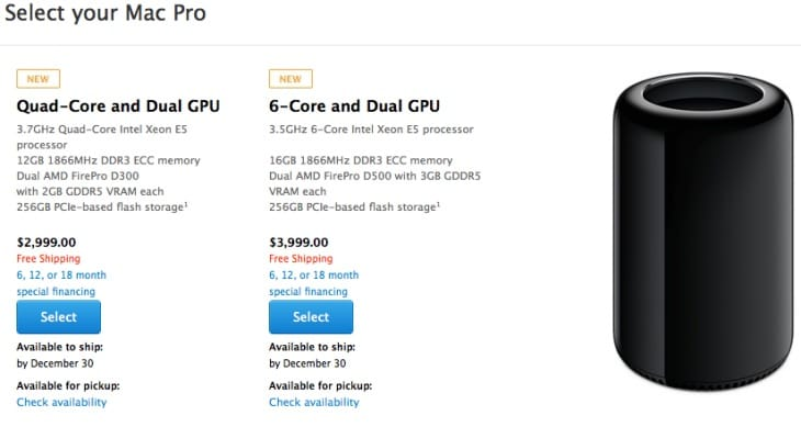 Mac Pro 2013 now available