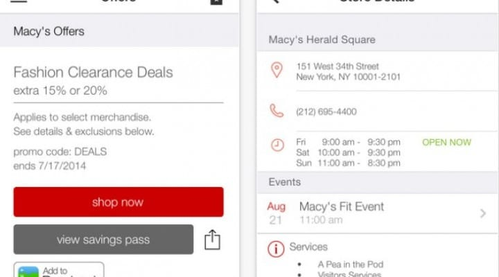 Macy's location-based discount coupons on your iPhone
