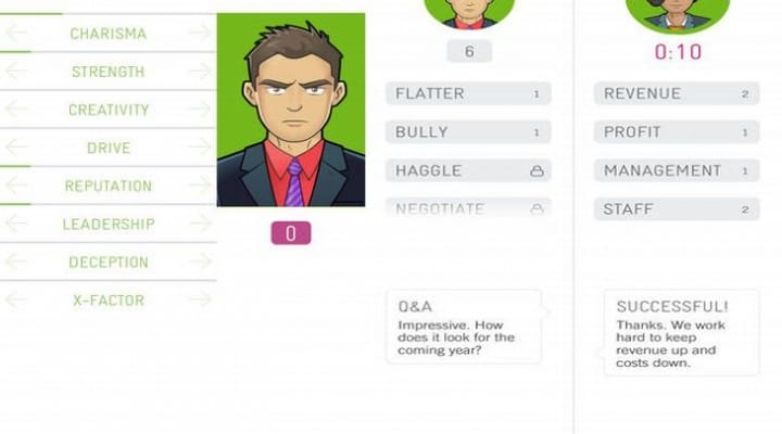 M&A iPhone app, strategy game like Wolf of Wall Street
