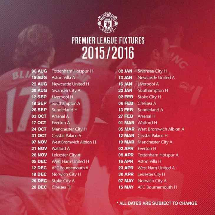 Manchester United 2015, 2016 fixtures