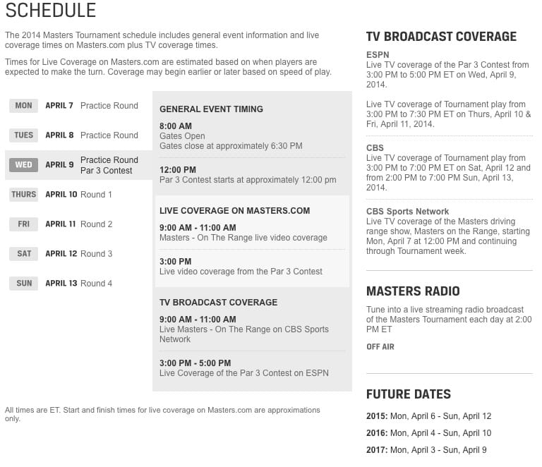 Masters Golf 2014 TV schedule