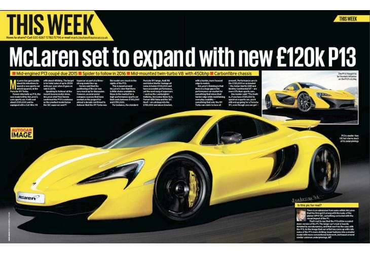McLaren P13 aspirations, engine and projected price