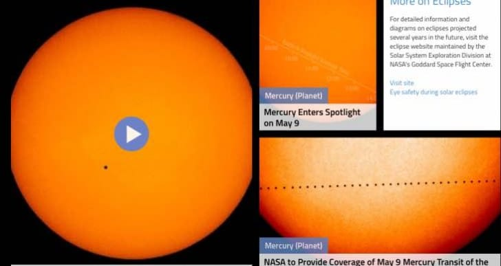 Mercury Transit 2016 exact time on Monday with live stream