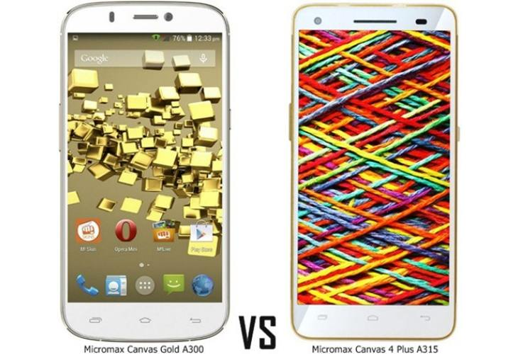 Micromax Canvas 4 Plus A315 vs. Gold A300, Nitro A310