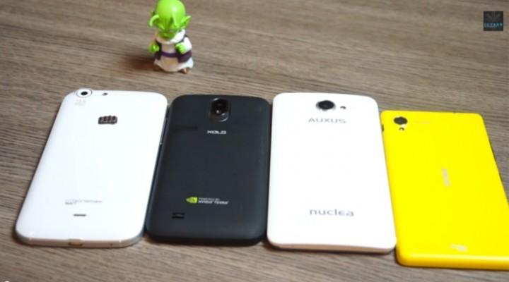 Micromax Canvas 4 vs. iBerry Nuclea N1, Gionee E5 and Xolo Play