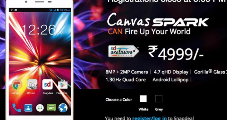 Micromax Canvas Spark price with India sale countdown