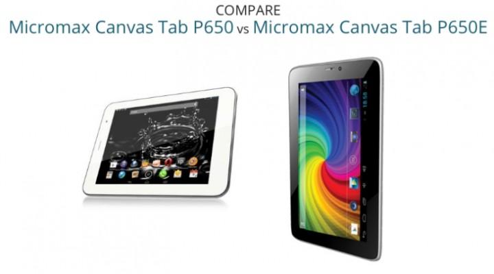 Micromax P650 Canvas tablet vs. P650E for price, specs
