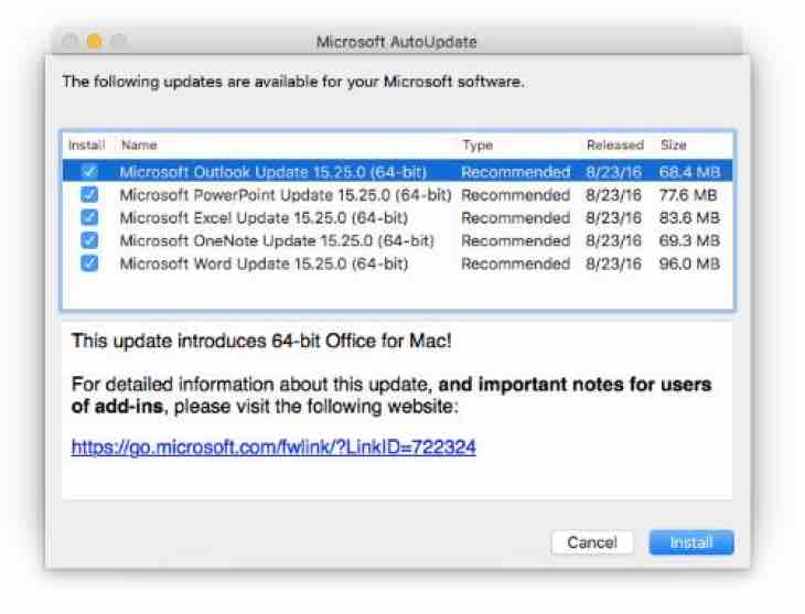 Microsoft Office 2016 support update