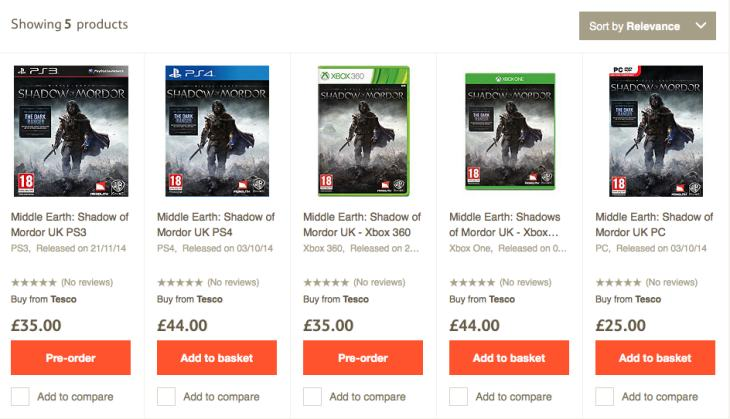 Middle-earth- Shadow of Mordor price at Tesco