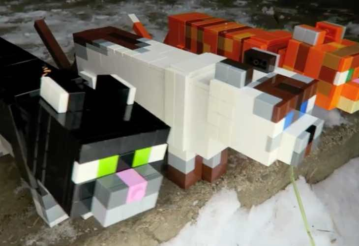 Minecraft LEGO cats