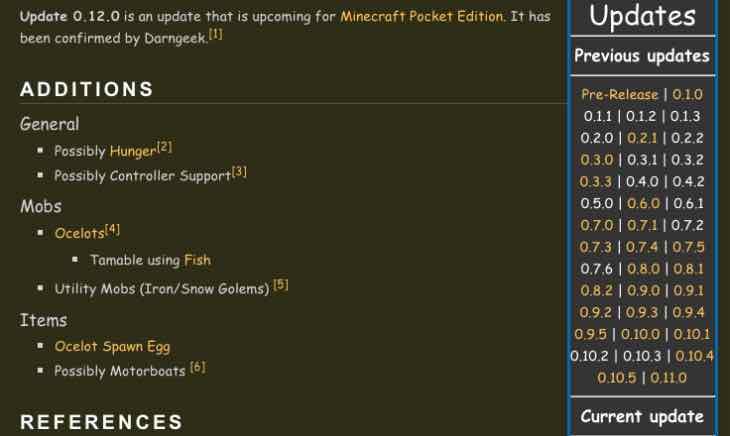 Minecraft PE 0.12.0 update release time