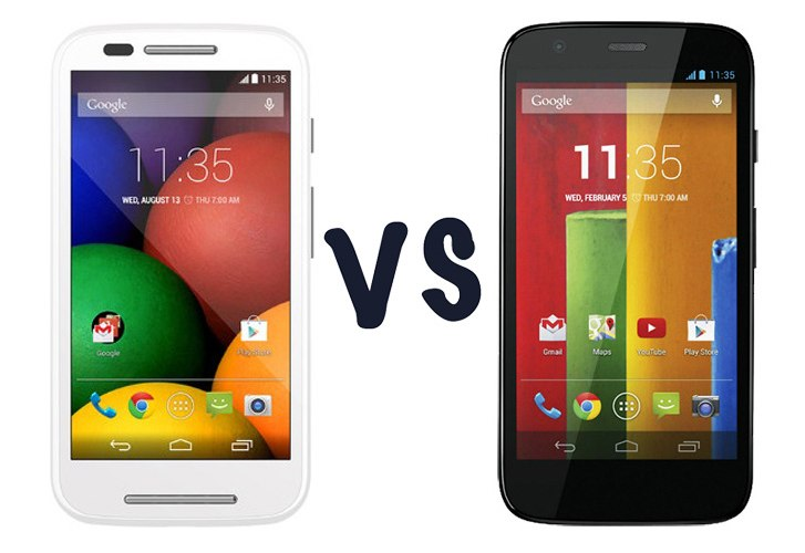Moto E vs Moto G spec comparison in visual review