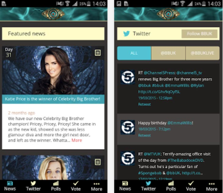 New 2015 Big Brother Android app with contestant voting
