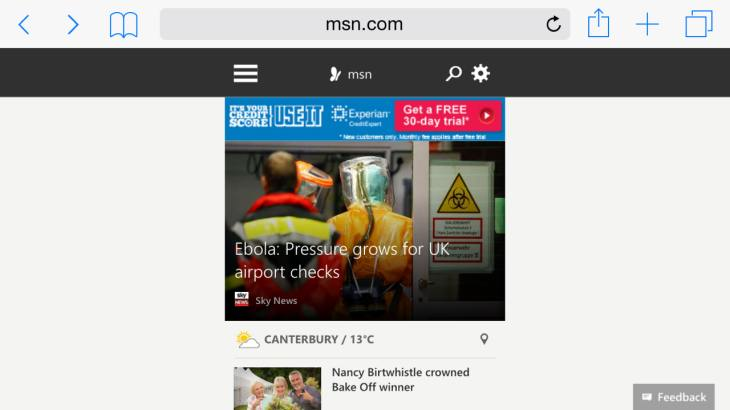 New MSN homepage iPhone design