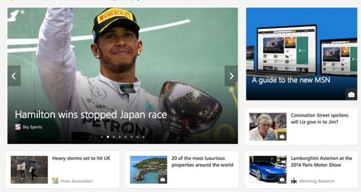 New MSN homepage redesign in Safari 6.2