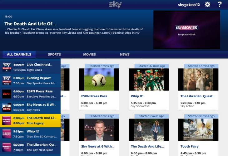 New Sky Go app testing for Android