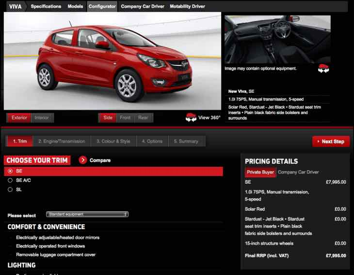 New Vauxhall Viva options