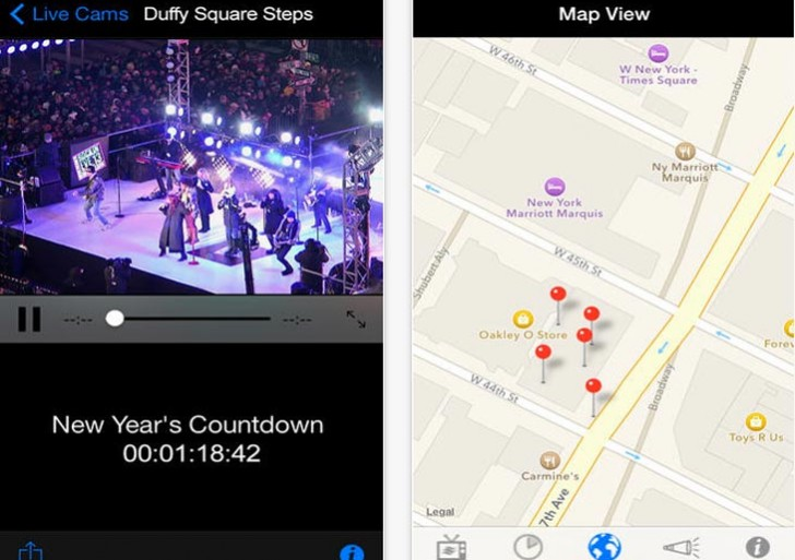 New Year 2014 countdown app, live NYC fireworks