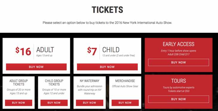 New York Auto Show 2016 ticket options