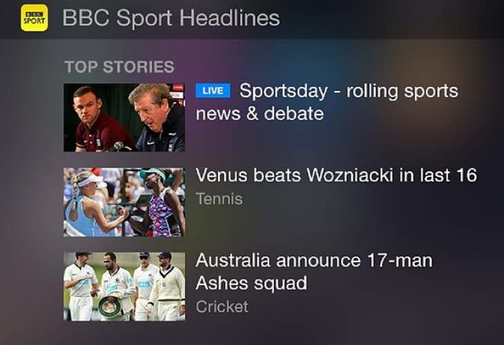 New top stories widget in BBC Sport update