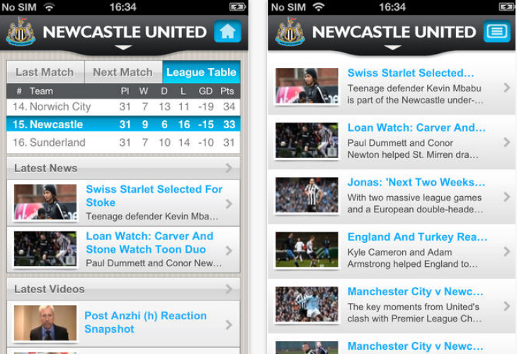 Newcastle United FC app update