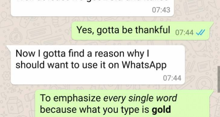 Next WhatsApp update with new formatting options