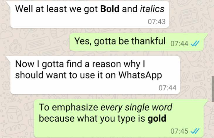 Next WhatsApp update with bold