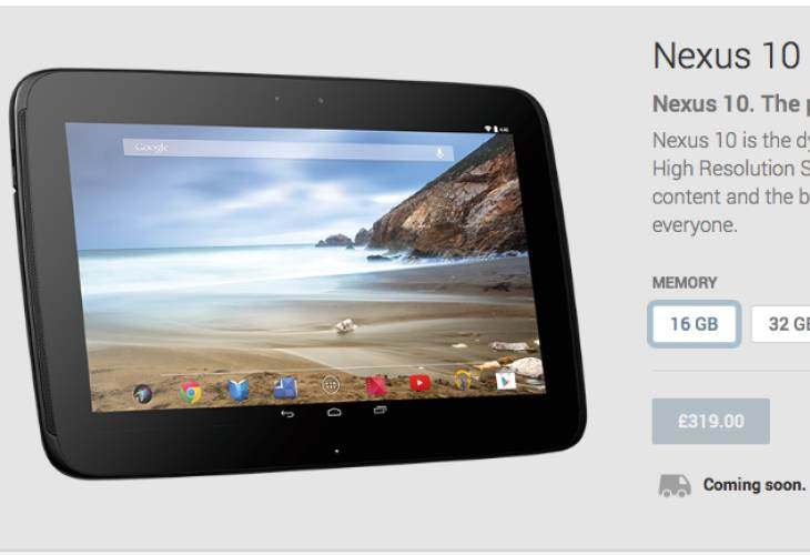 Nexus 10 availability updated, reinvigorates rumors