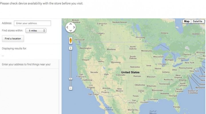 Nexus 4, 7 stock availability checker with Google Maps