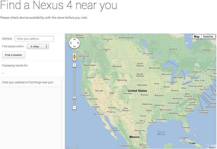Nexus 4 and 7 availability checker with Google Maps
