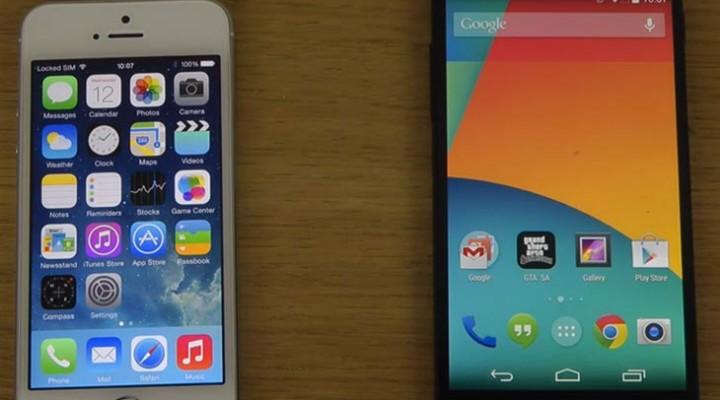 Nexus 5 Android 4.4 KitKat vs. iPhone 5S with iOS 7.1