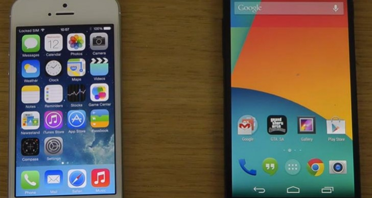 Nexus 5 Android 4.4 KitKat vs. iPhone 5S with iOS 7.1