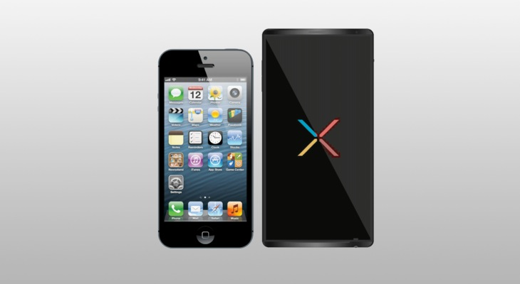 Nexus 5 vs. iPhone 5 in simple concept