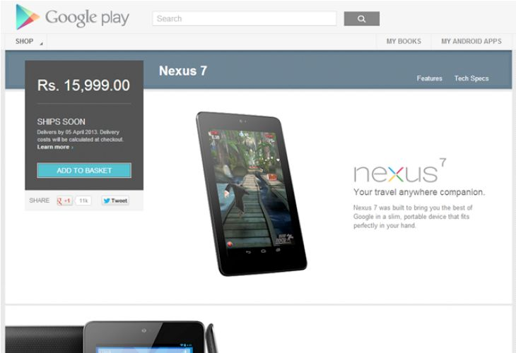 Nexus 7 available in India, awaiting Nexus 4