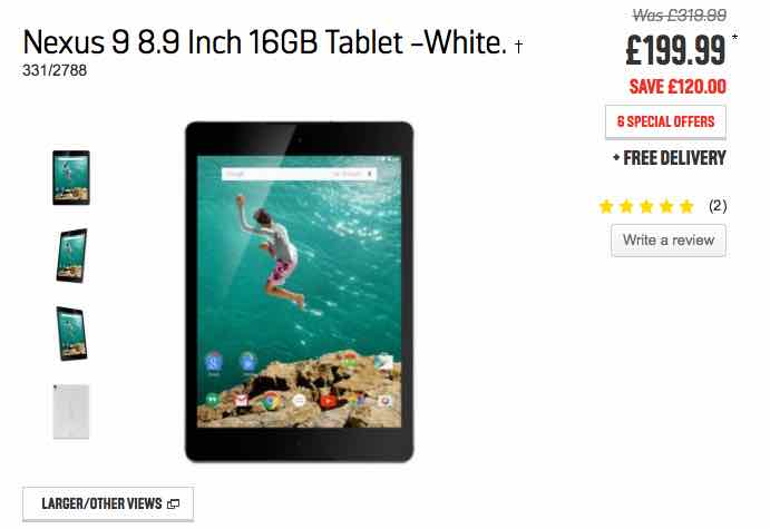 Nexus 9 price drop at Argos
