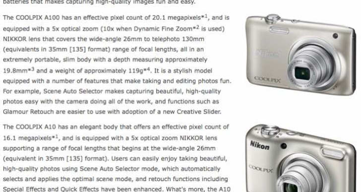Nikon Coolpix A100 and A10 specs, but no price