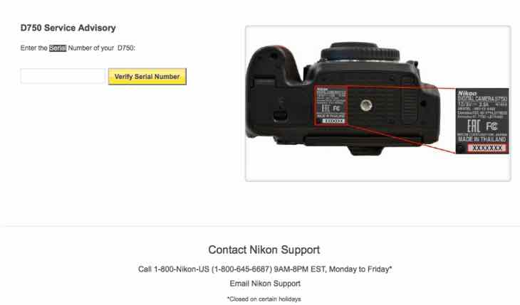 Nikon D750 Service Advisory