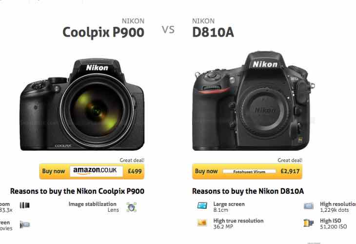 Nikon D810a Vs P900 advantages