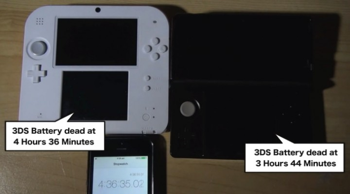 Nintendo 2DS vs. 3DS battery life analysis