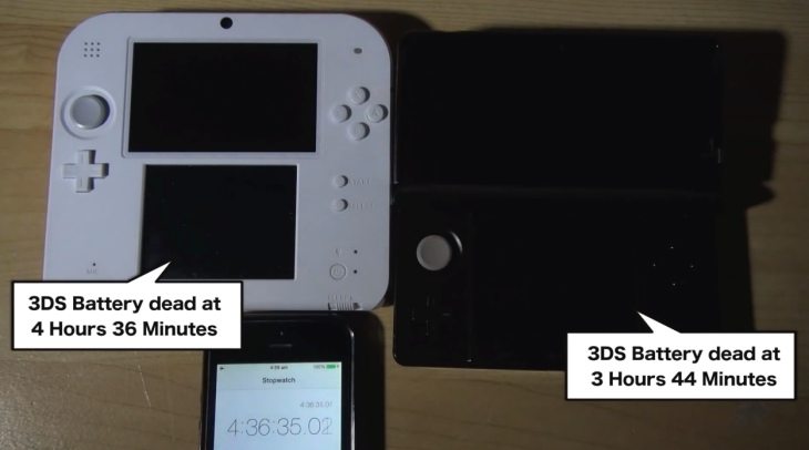 Nintendo 2DS vs. 3DS battery life analysis