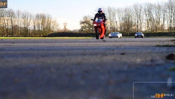 Nissan GTR vs. Ducati 1098 and Lamborghini Reventon Roadster
