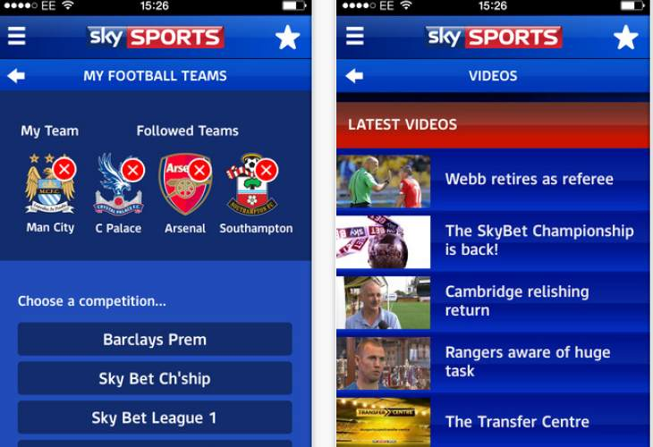 Notifications for top four football teams