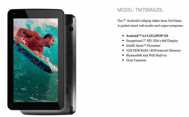 NuVision TM700A520L 7-inch tablet